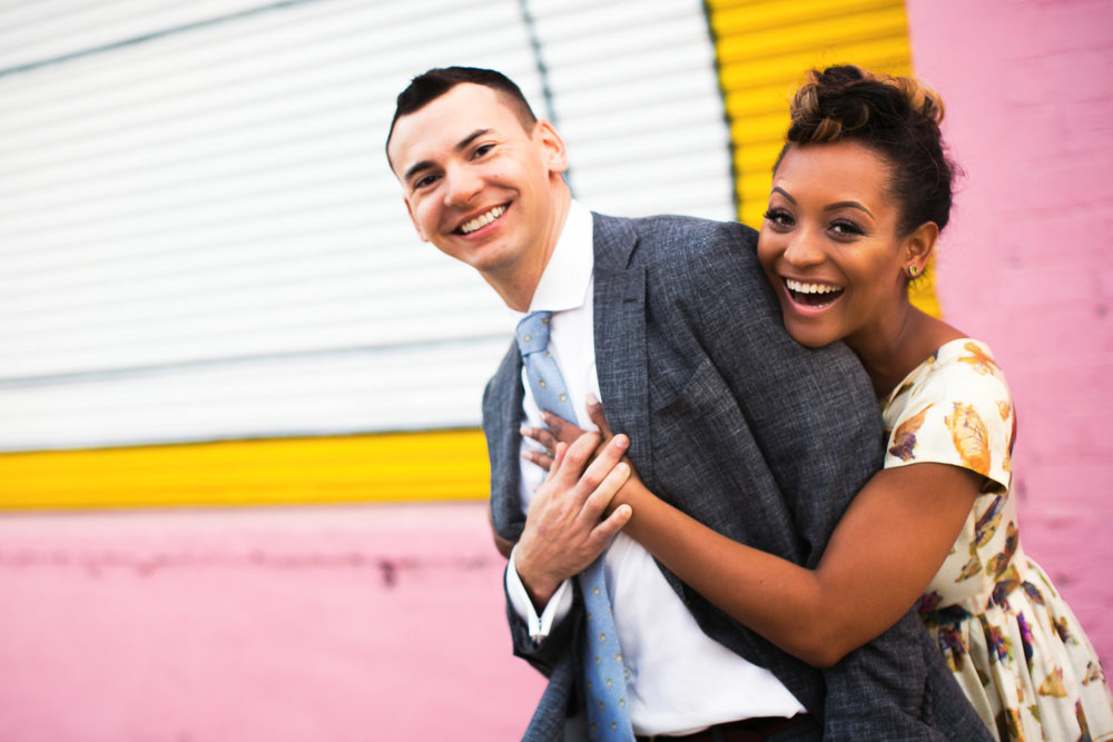 LA Engagement Photo with Happy Couple