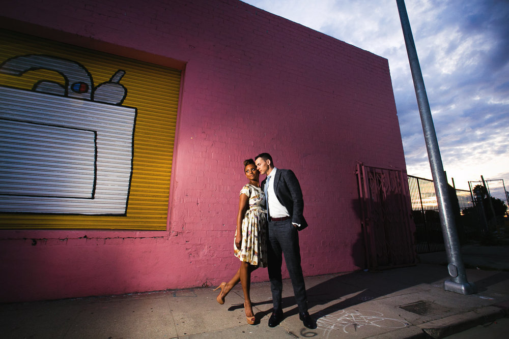Downtown LA Engagement Photo with Happy Couple