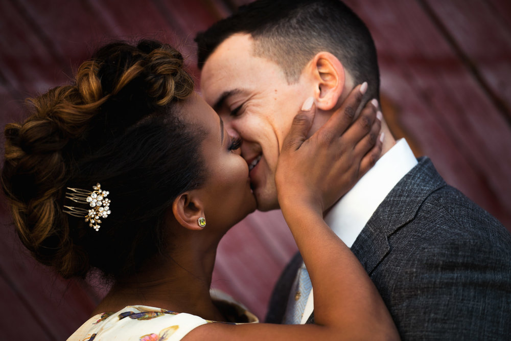 Couple Kissing in Los Angeles Engagement Photo