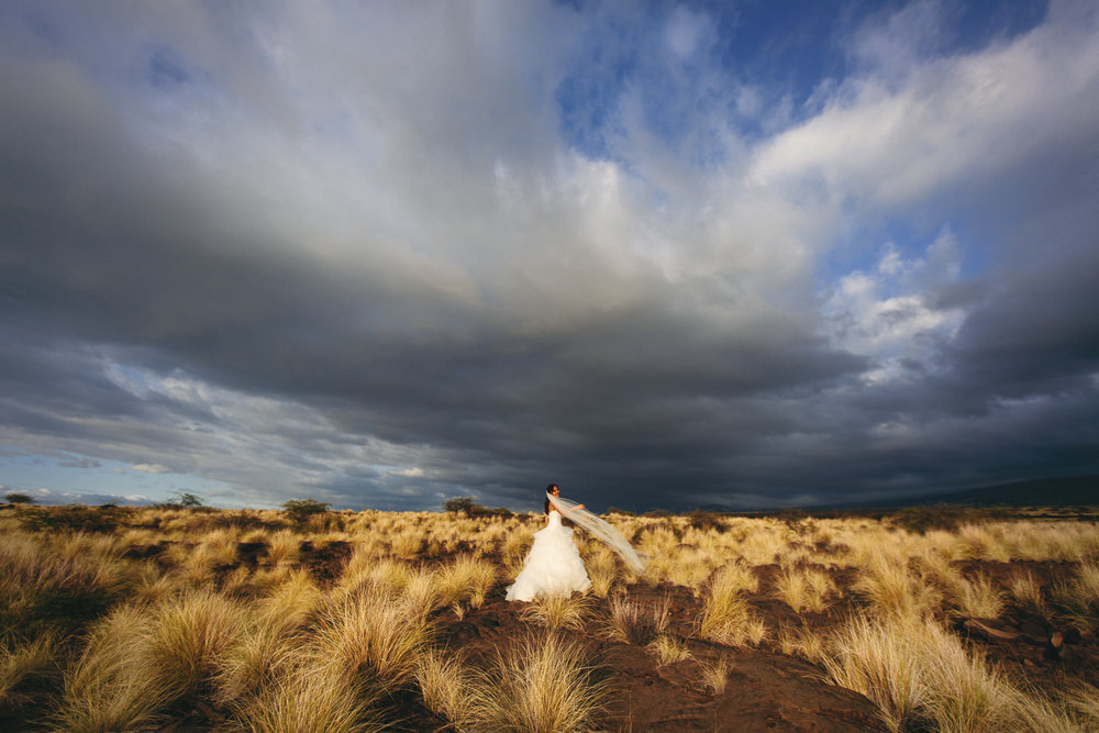 Epic portrait of bride in Kona