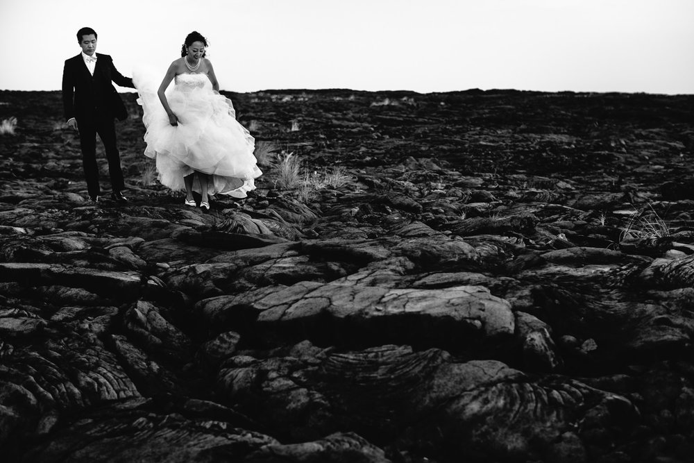 Four Seasons Hualalai Wedding portrait in lava fields of Kona