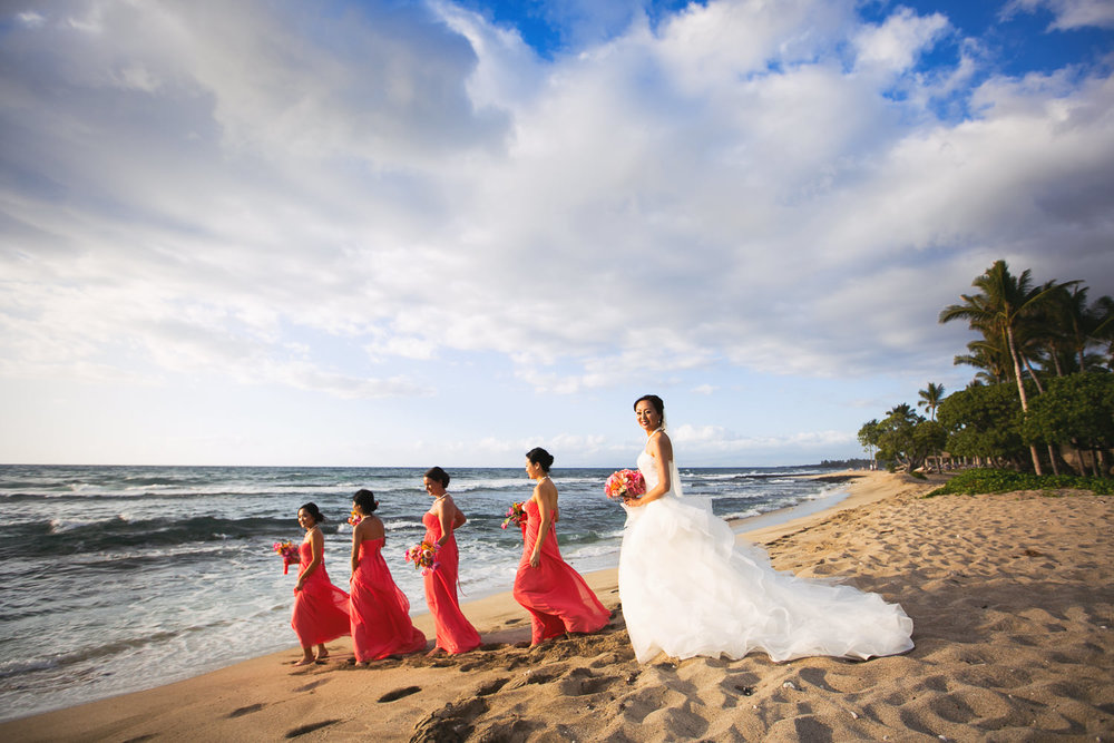 Bridesmaids on the beach at Four Seasons Hualalai wedding