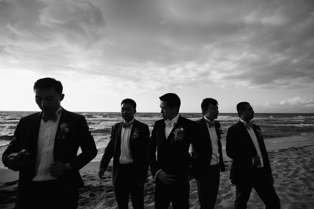 Groomsmen on the beach at Four Seasons Hualalai wedding