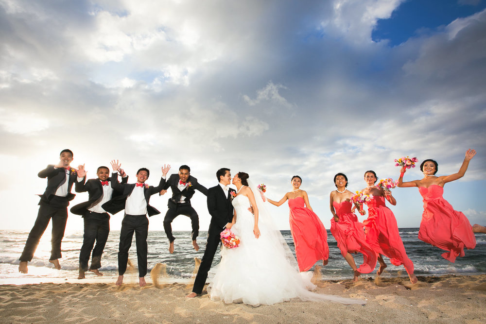 Bridal Party on the beach at Four Seasons Hualalai wedding