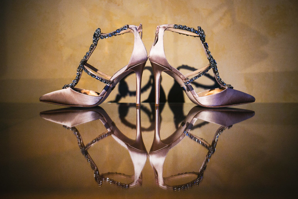 Creative wedding shoe photo at Langham Pasadena Wedding