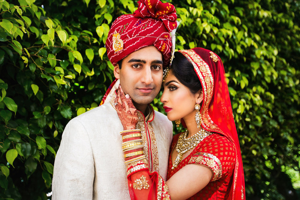 Beautiful photo of bride and groom at their South Asian Indian wedding at Bel-Air Bay Club