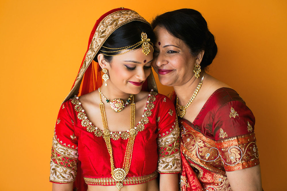 Paradisus Hotel Cancun Wedding Photo of Indian bride with her mother