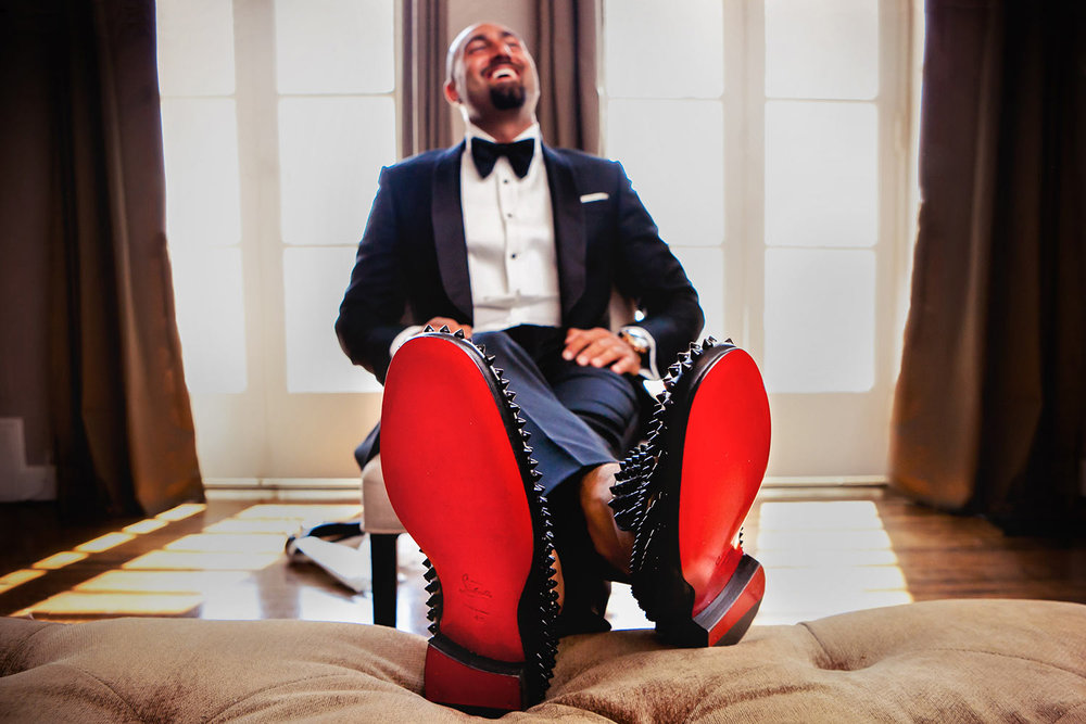 Groom wearing Louboutin Shoes on his wedding day at Vibiana