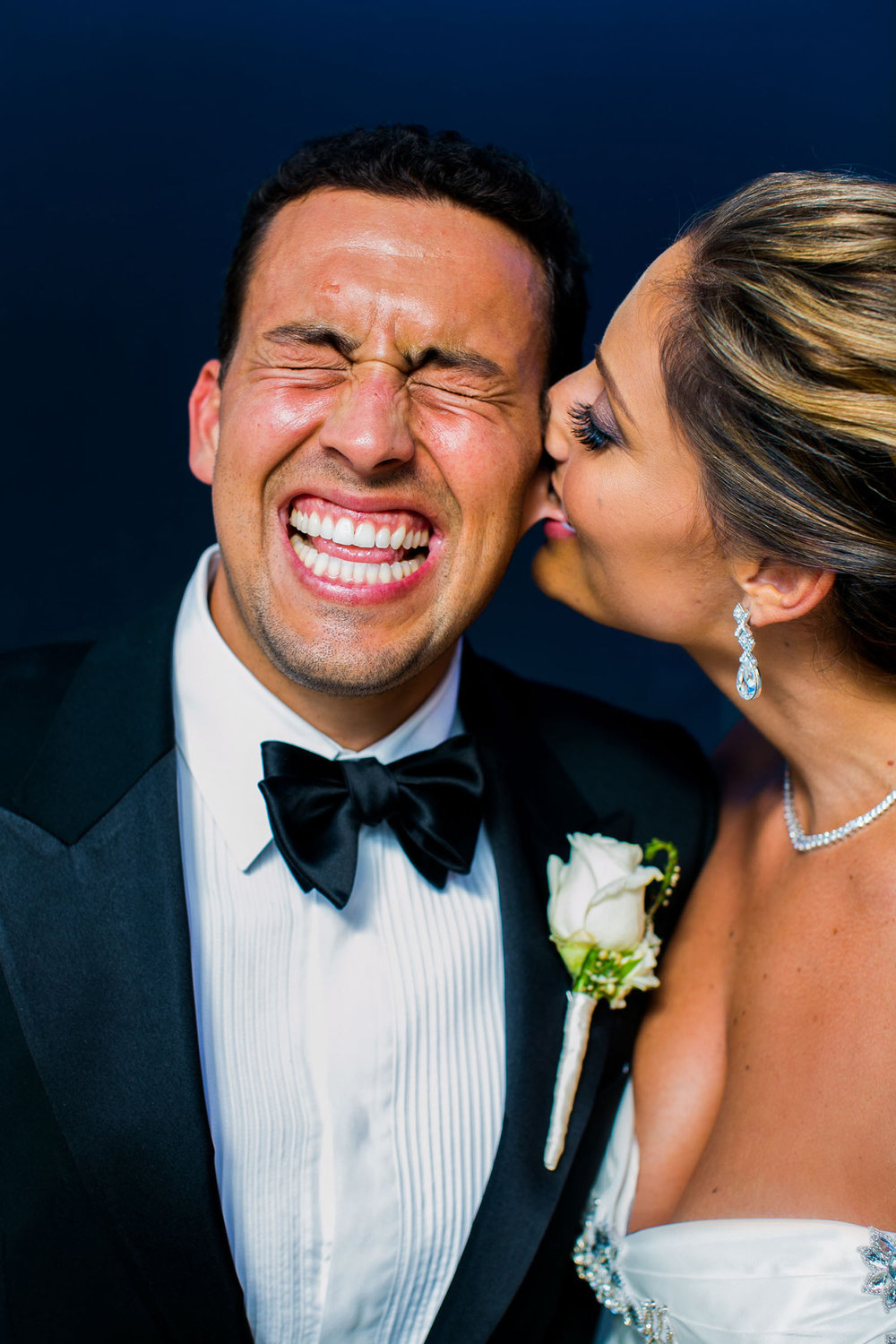 Disney Concert Hall wedding photo bride and groom laughing