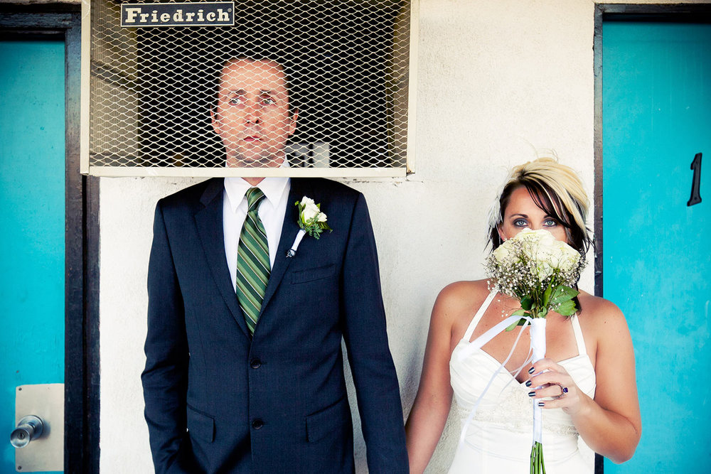 Funny wedding photo of Los Angeles bride and groom