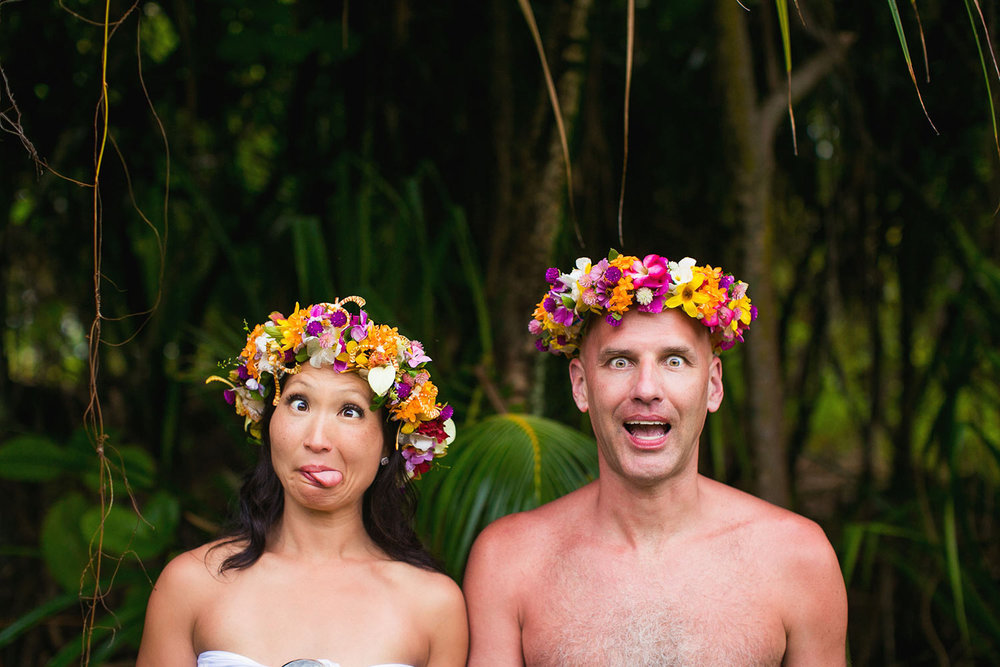 Bora Bora Elopement couple dressed in traditional Tahitian wedding attire