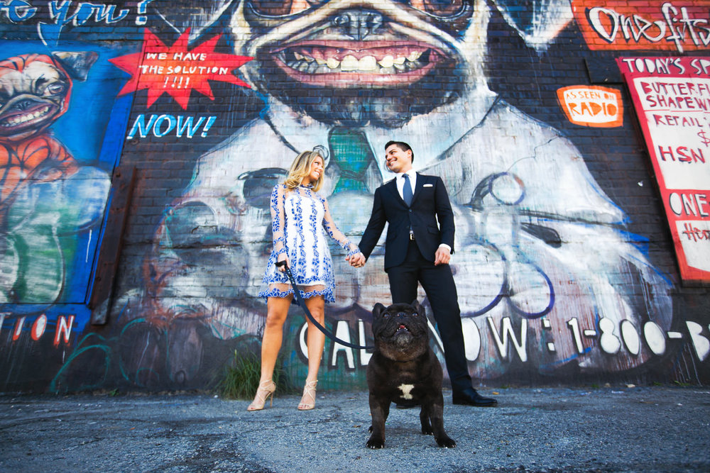 Arts District Engagement With Colorful Couple And Cute Dog