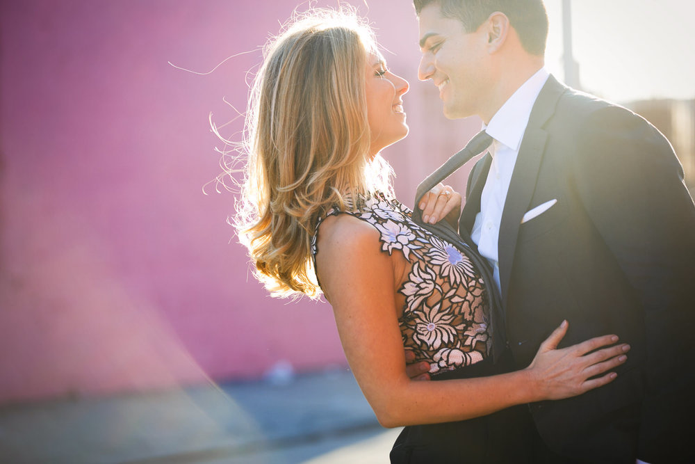 Fashionable Arts District Engagement With Young Couple