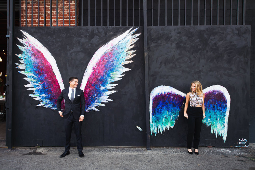 Cute Couples Arts District Engagement Angel Wings