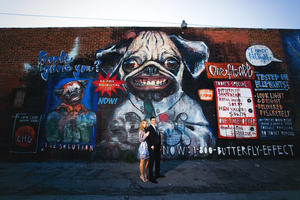 Cute Couple Arts District Engagement Graffiti Wall Photo