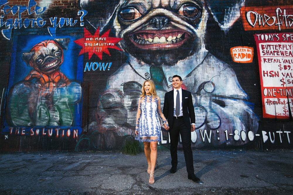 Fashionable Arts District Engagement Graffiti Wall Photo
