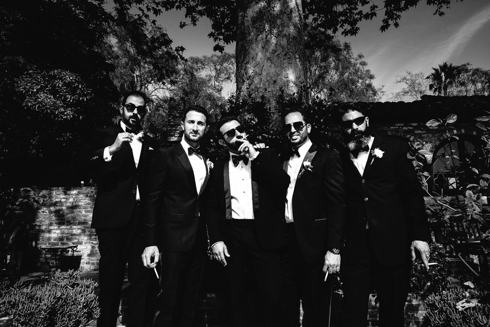Hummingbird Nest Ranch Wedding - Persian Groomsmen Portrait Black & White