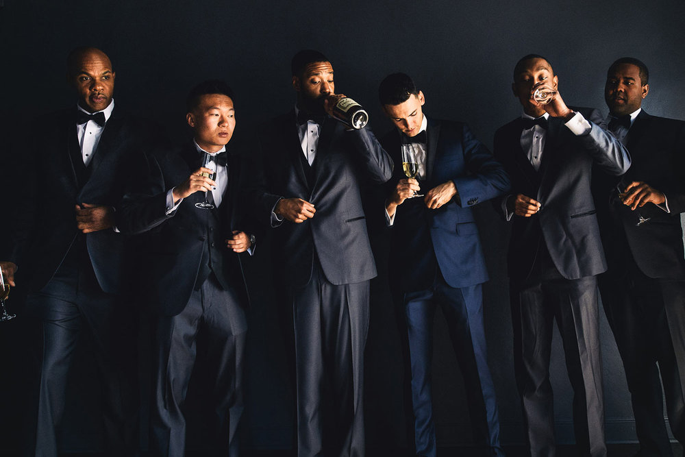 Groomsmen in black tuxedos at Vibiana wedding in downtown Los Angeles