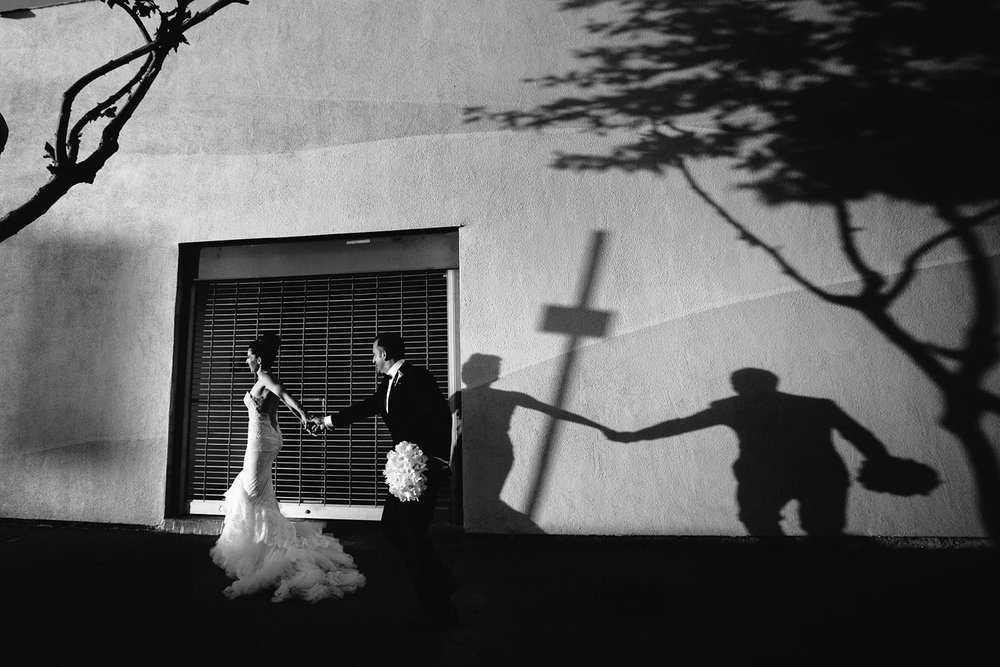 Black and white wedding photo at SmogShoppe in Culver City