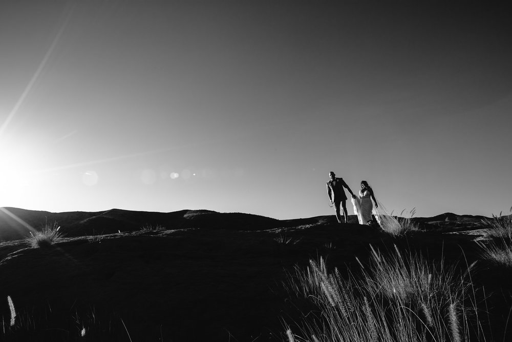 Black and white landscape photo at Hummingbird Nest wedding by Callaway Gable