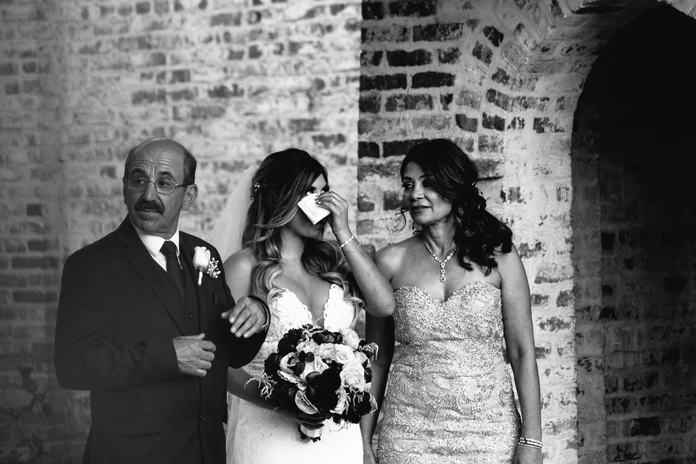 Bride crying at Hummingbird Nest wedding by Callaway Gable