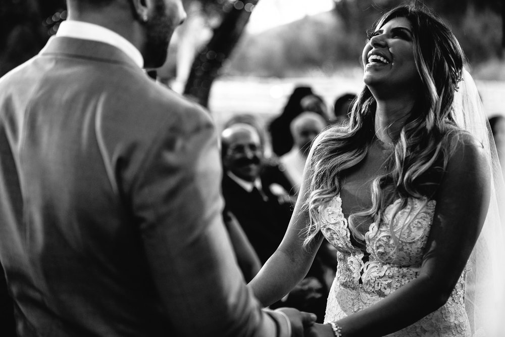 laughter and emotion at her wedding ceremony at Hummingbird Nest wedding by Callaway Gable