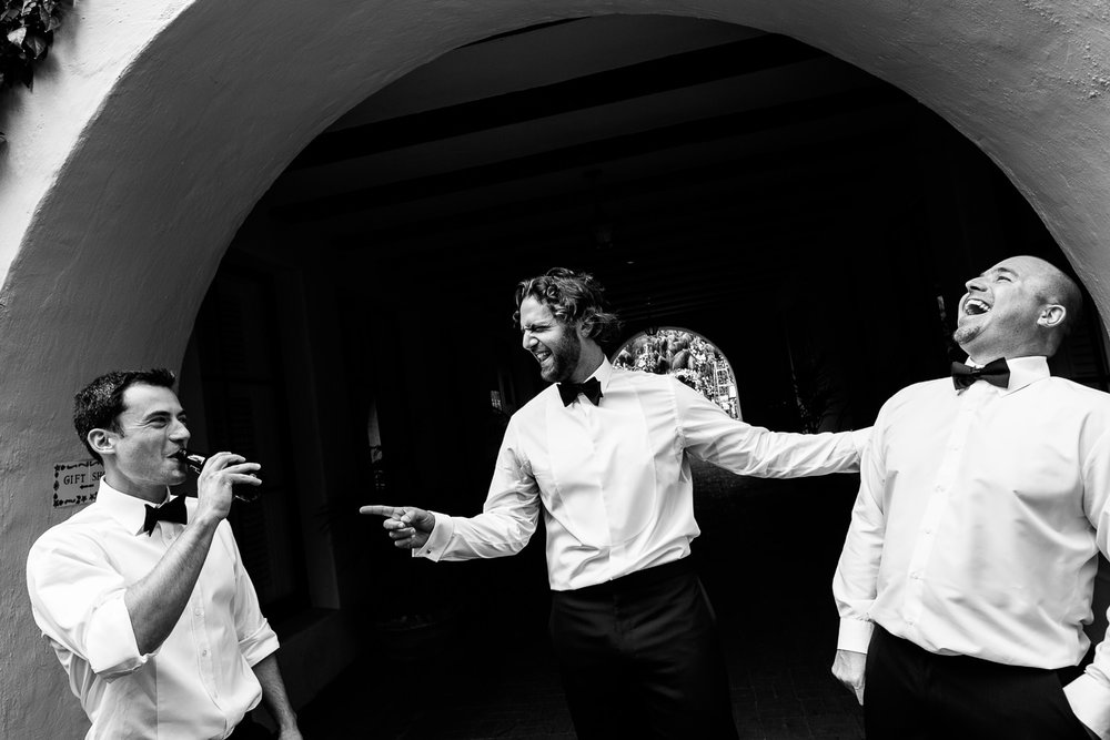 Four Seasons Santa Barbara Wedding - Groomsmen Having Fun