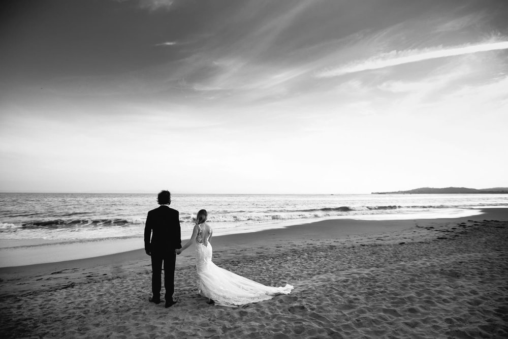 Four Seasons Santa Barbara Wedding - Black & White Portrait on the Beach