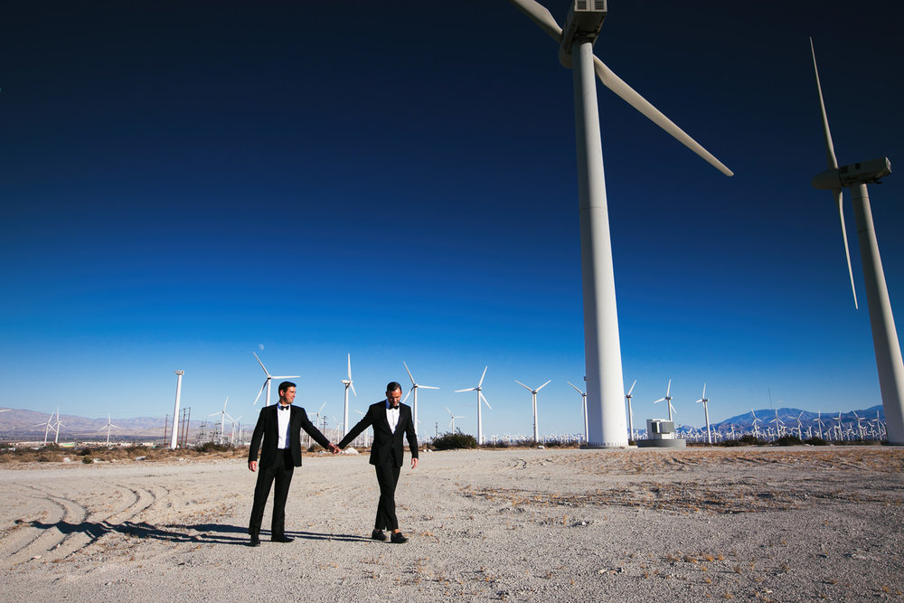 Same Sex Avalon Palm Springs Wedding - Under the wind turbines