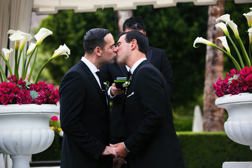 Same Sex Avalon Palm Springs Wedding - Kissing Each Other