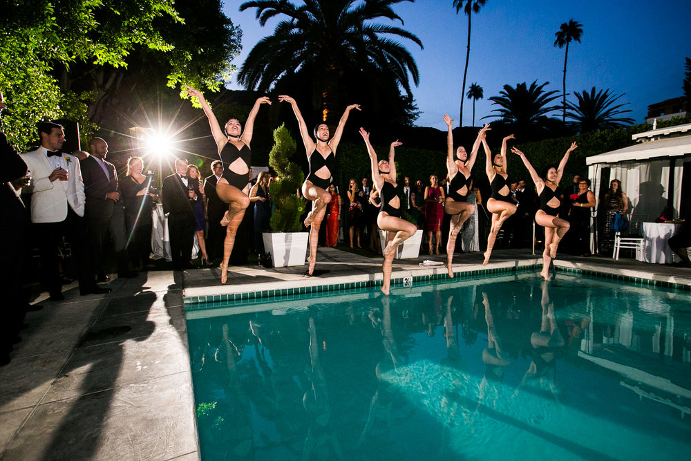 Same Sex Avalon Palm Springs Wedding - Synchronized Swimmers At Reception