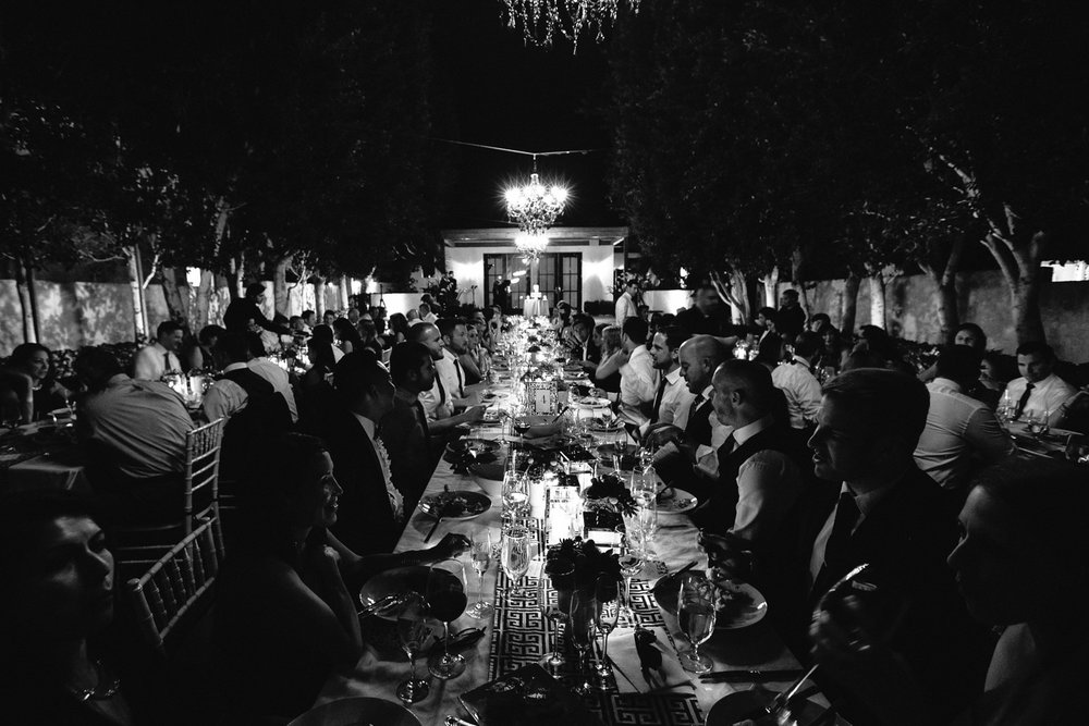 Same Sex Avalon Palm Springs Wedding - Black and White Of Banquet