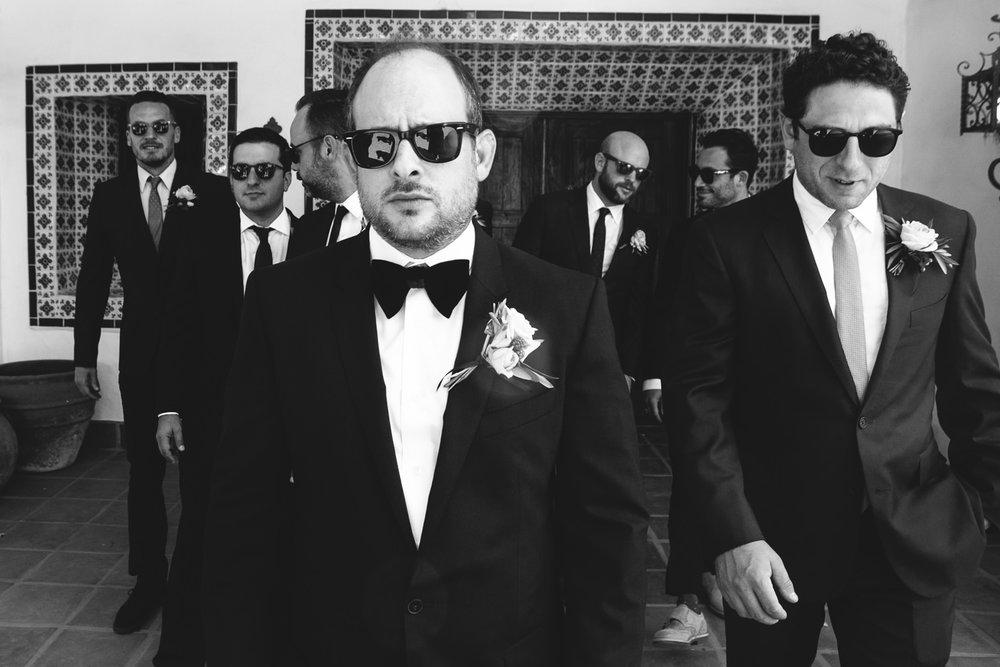 Los Olivos Wedding - Black and White of Groomsmen