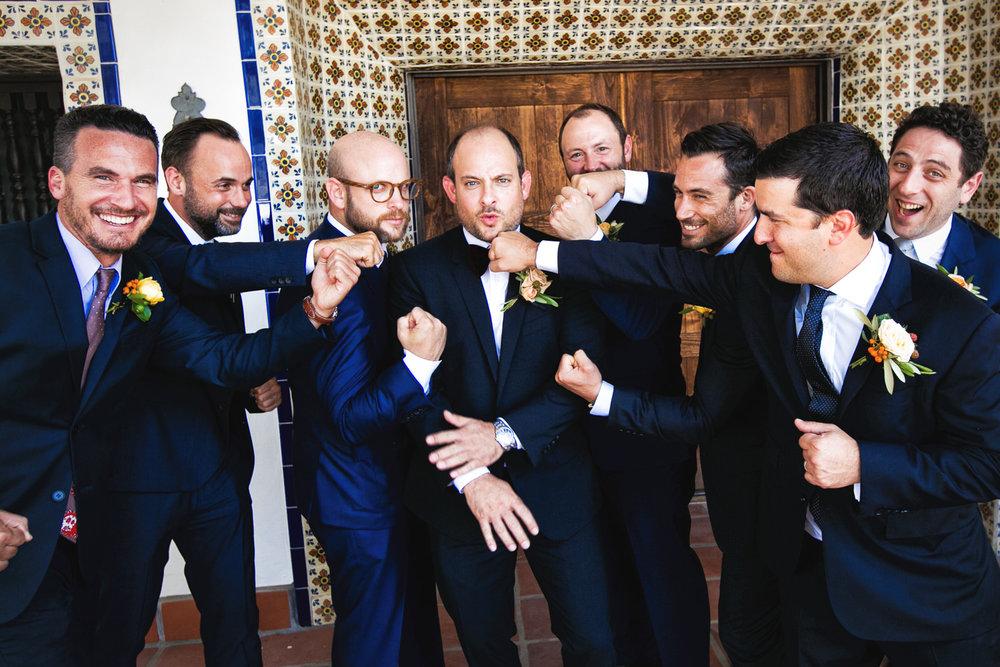 Los Olivos Wedding - Groomsmen with Groom in Natural Light