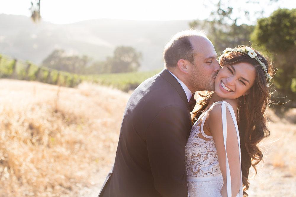 Los Olivos Wedding - Kissing in Natural Light