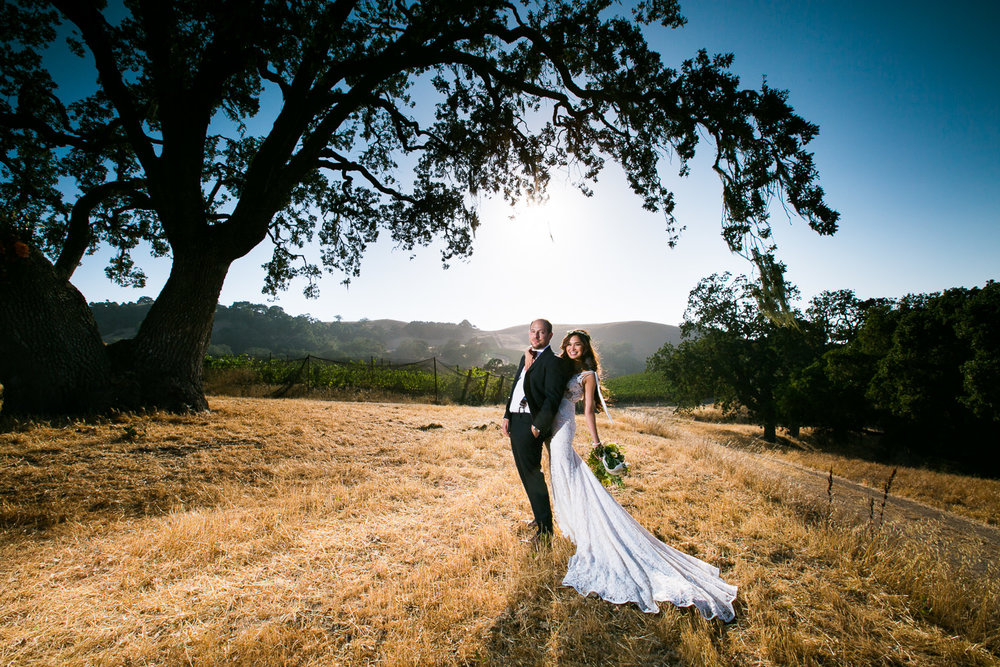 Los Olivos Wedding - Pretty Bride and Groom Newly Married