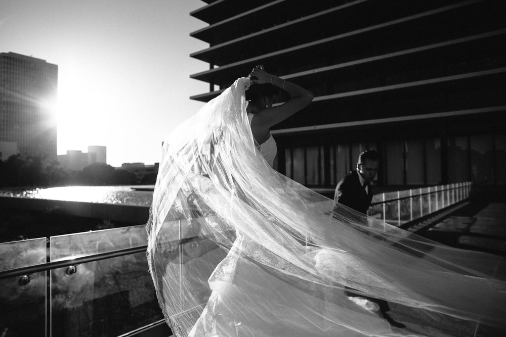 City Club LA wedding - LADWP Building Black and White