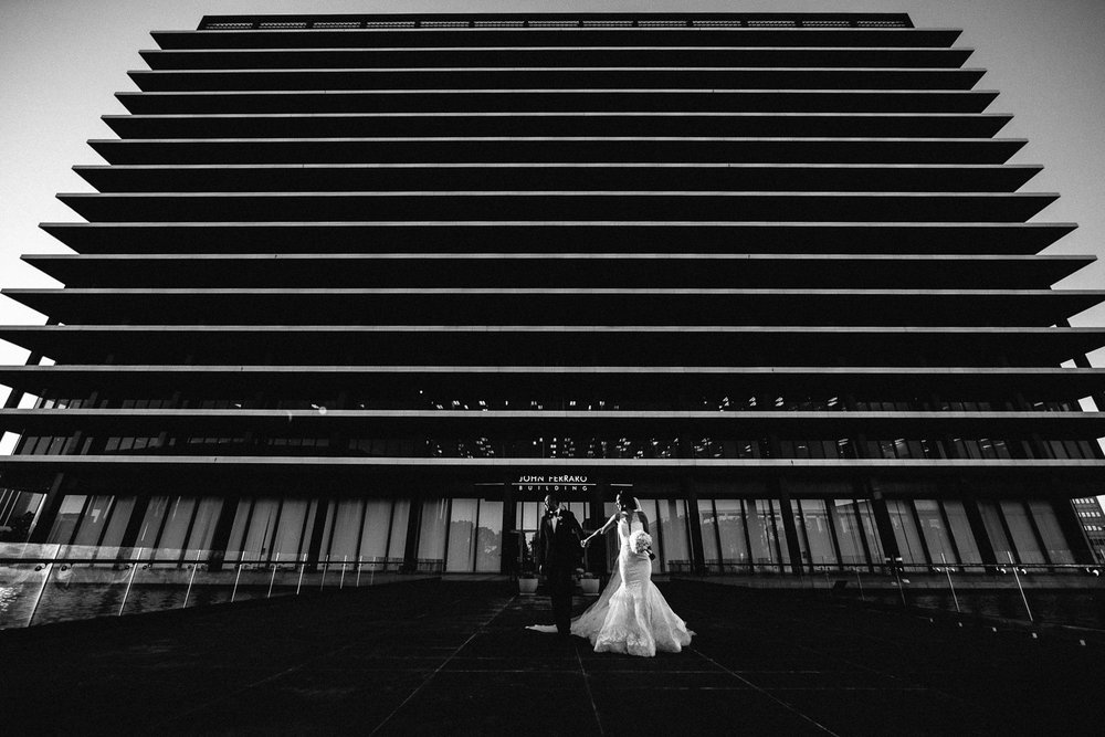 City Club LA wedding - LADWP Building Bride and Groom Black and White