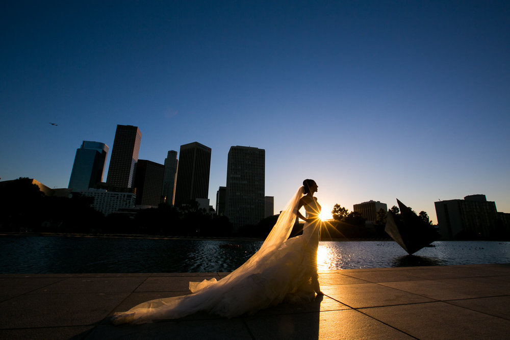 City Club LA wedding - Bride with the LA Skyline