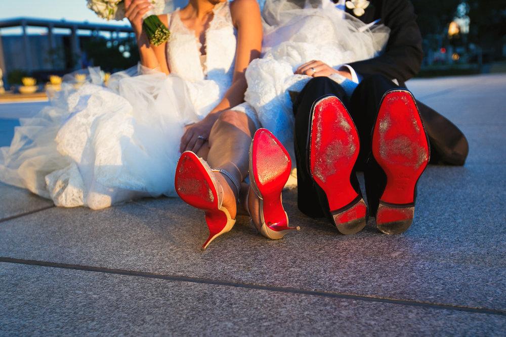 City Club LA wedding - Bride and Groom Red Shoes