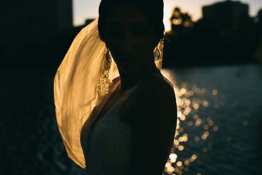 City Club LA wedding - Bride Framed By the Sun