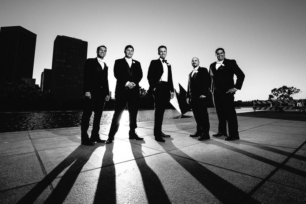 City Club LA wedding - Groomsmen Portrait