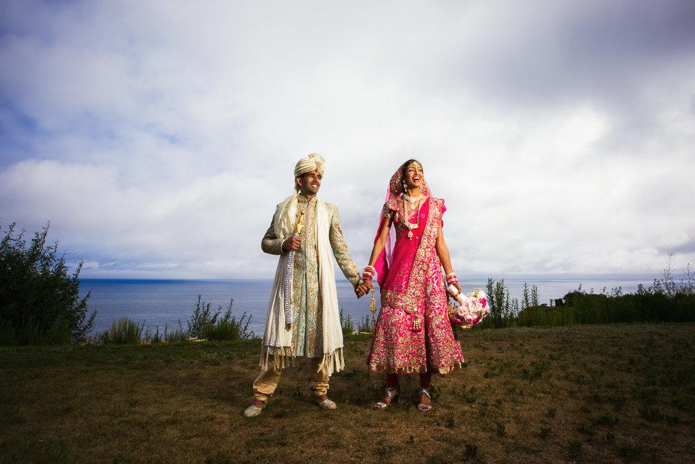 Trump National Golf Club Wedding - Bride and Groomsmen Holding Hands