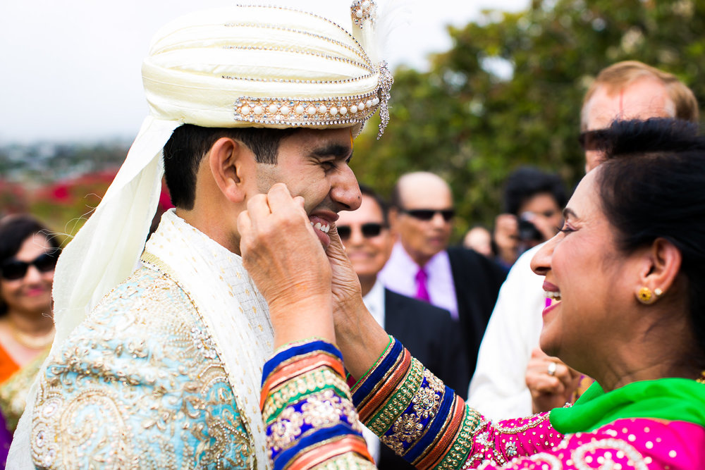 South Asian Trump National Golf Club Wedding - Groom with Mother