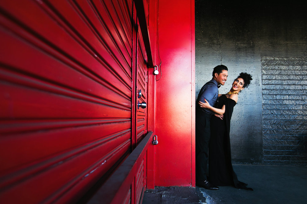 Fashionable Engagement in Downtown Los Angeles - Embracing