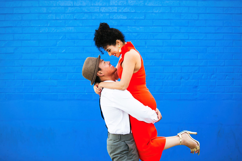 Fashionable Engagement in Downtown Los Angeles - Red dress and a blue wall