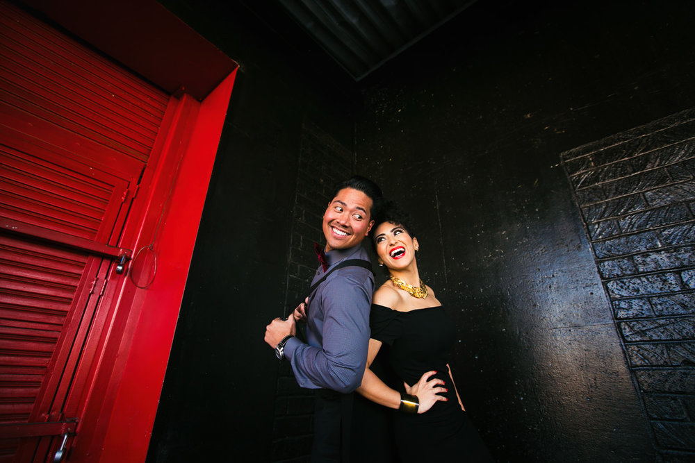 Fashionable Engagement in Downtown Los Angeles - Back to Back