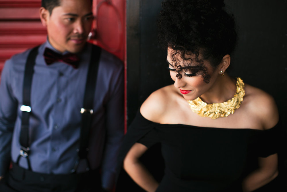 Fashionable Engagement in Downtown Los Angeles - The two of them looking great