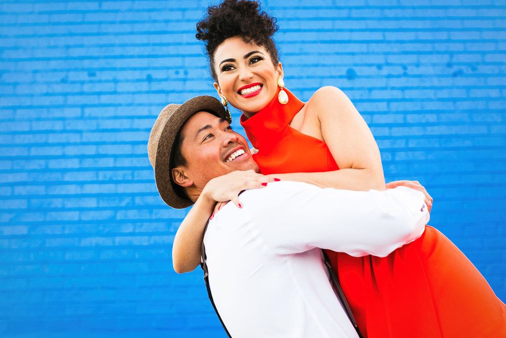 Fashionable Engagement in Downtown Los Angeles - Lifting her high