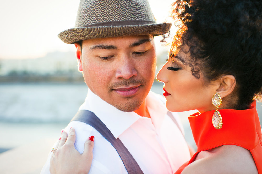 Fashionable Engagement in Downtown Los Angeles - Holding Each Other and in Love